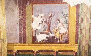 """Terzigno. Le eleganti pitture figurate del salone della """"Villa 6""""…"""